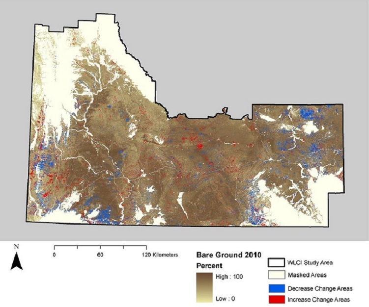 Map of spatial distribution of the change in bare ground from 2006 to 2010 in the WLCI region.