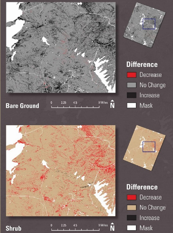 Graphic showing predicted change in bare ground and sagebrush cover between 2006 and 2050.