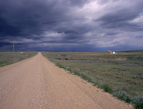 Photo of dirt road to well pad in southwest Wyoming