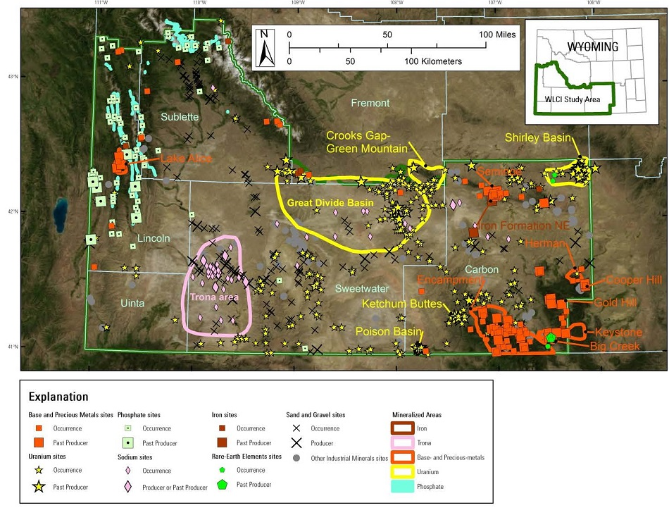 Map of mineralized areas and mineral deposits in the WLCI region