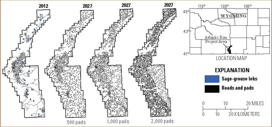 Maps of simulated infrastructure (well pads and roads) density patterns in the Atlantic Rim Project Area in 2012 and 2027 using 500, 1000, and 2000 well pads.  Click to enlarge.