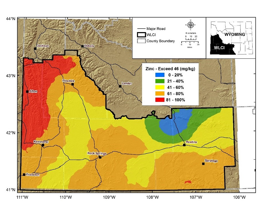 Map of probability of exceeding EPA soil screening level for zinc for birds in the WLCI region. Click to enlarge.